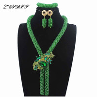 2019 Green Costume Jewelry Set Nigerian Wedding African Beads Set Crystal Braid Pendant Necklace Set Free Shipping HD7743