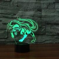 Wizualne 3D wilk odlewnictwo lampada 7 Zmiana Koloru Światła LED ABS noc lampa prezent USB Dotykowy Stół Lampora 5 V salon światła