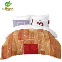 Купить с кэшбэком Sports Bedding Set Basketball Court Print Duvet Cover Set Teens Bedclothes Twin Full King Queen Pillowcase Bedding Cover D30