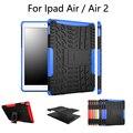 Caso para o ipad air1 2 estande híbrido disco pc + tpu armadura de borracha da tampa do caso para ipad5 6 tablet caixa protetora + filme de tela + caneta + otg