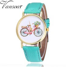 Vansvar Trend Girls Informal Classic PU Leather-based Quarzt Watches Relogio Feminino Girls Colourful Bicycle Sample WristWatch V32