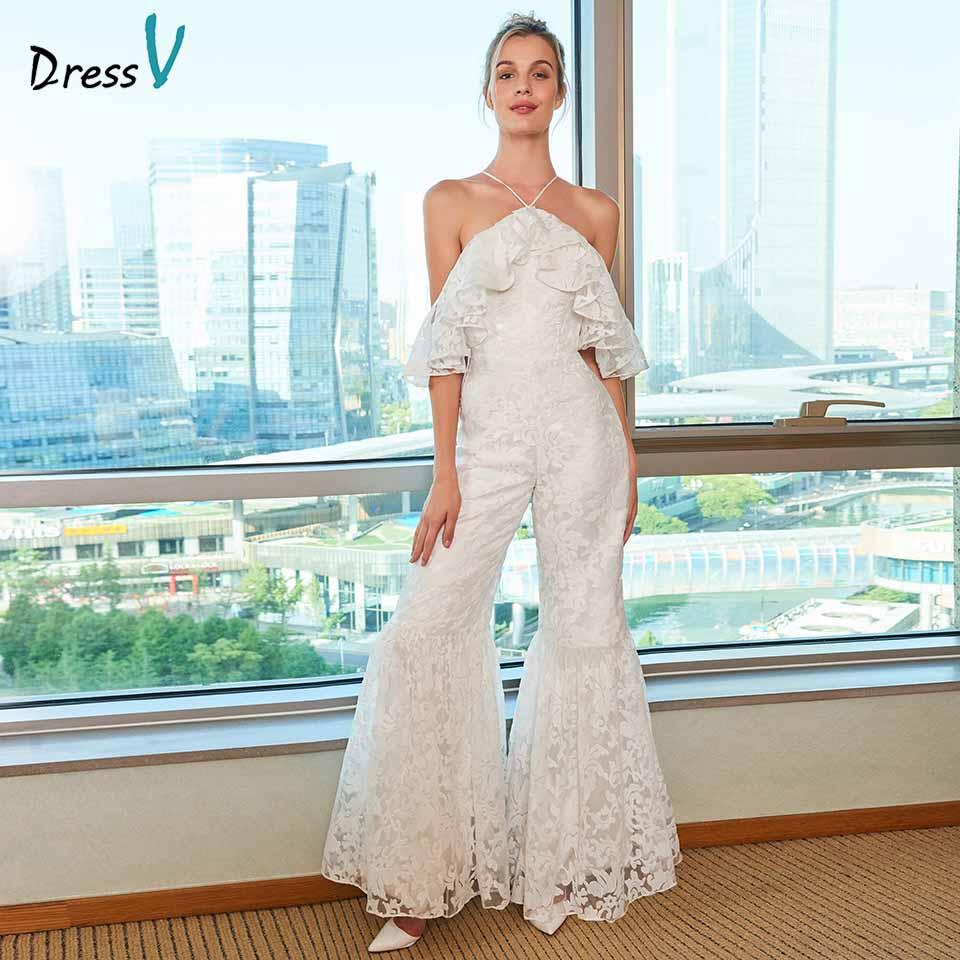 c77e6705e5445 Dressv elegant halter neck wedding dress sheath ruffles ruched lace  jumpsuit floor length bridal outdoor&church wedding dresses