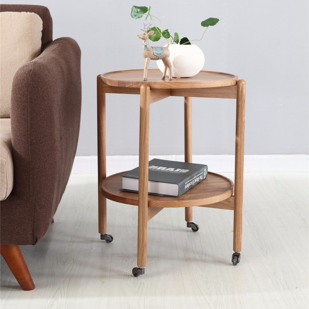 Table Basse Console Us 260 39 7 Off Console Tables Living Room Furniture Home Furniture Oak Solid Wood Side Table Basse End Table With Roller Minimalist 45 5 50cm In