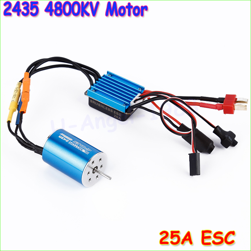 RC Car Model Parts 2435 4800KV 4P Sensorless Brushless Motor with 25A Brushless ESC for 1/16 1/18 RC Car Off Road Truck 3650 3900kv 4p sensorless brushless motor 60a brushless elec speed controller esc w 5 8v 3a switch mode bec for 1 10 rc car