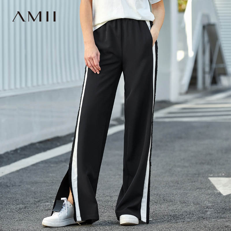 Amii Minimalist Causal Wide Leg Pants Women 2018 New Preppy Style Solid Patchwork Tassel Loose Side Slit Sport Long Pants