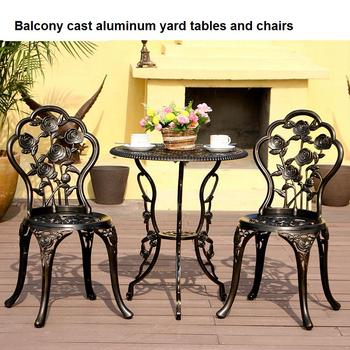 Balcony cast aluminum yard tables and chairs outdoor leisure tables and chairs combination courtyard garden chair table