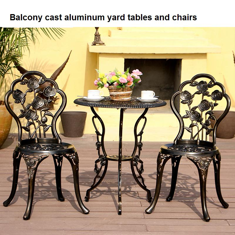 Balcony cast aluminum yard tables and chairs outdoor for Yard table and chairs