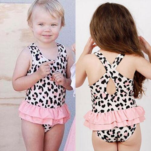 Baby Girls Toddler Kids Leopard Swimwear Swimsuit Bikini Set Bathing Tankini Lace Patchwork Printed Fashion Cool Swimwear 2019