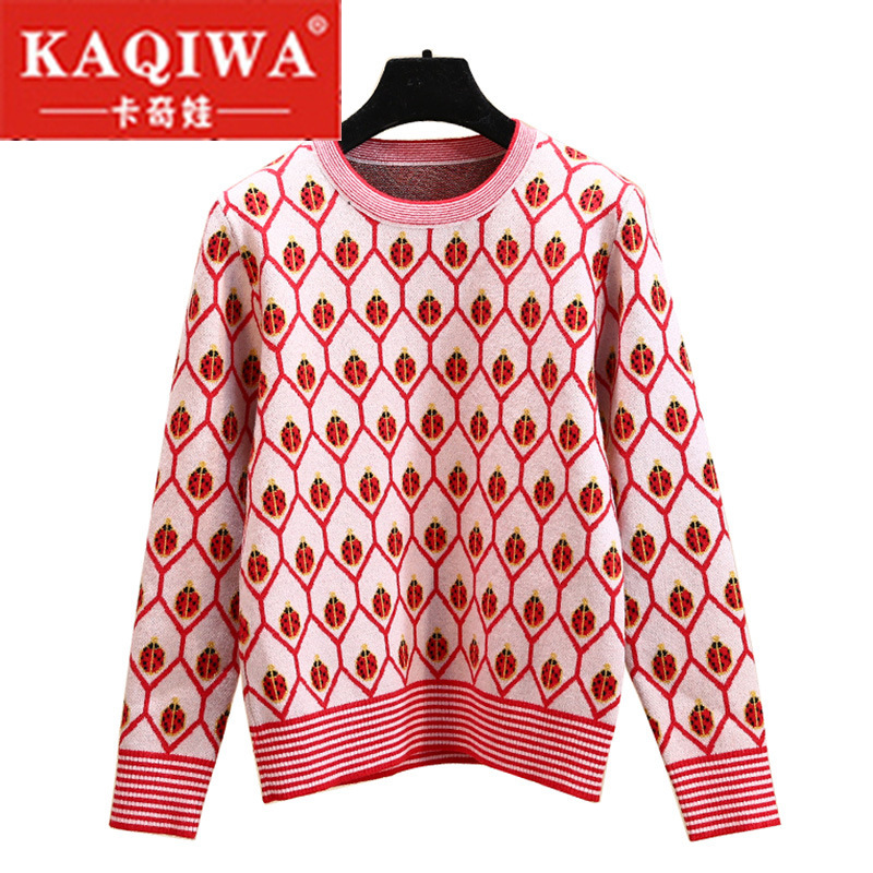 2009 Star Sweater Female Fragrance Wind Retro-Stripe Golden Ladybug Jacquard Aged Knitted Sweater In Autumn And Winter