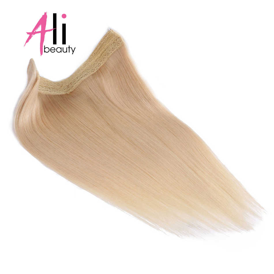 Ali-Beauty Flip Hair Extension In Halo European Remy Human Hair Weft Fish Line Hair Lenth 18inches 100g/pcs Weft width 10 inches