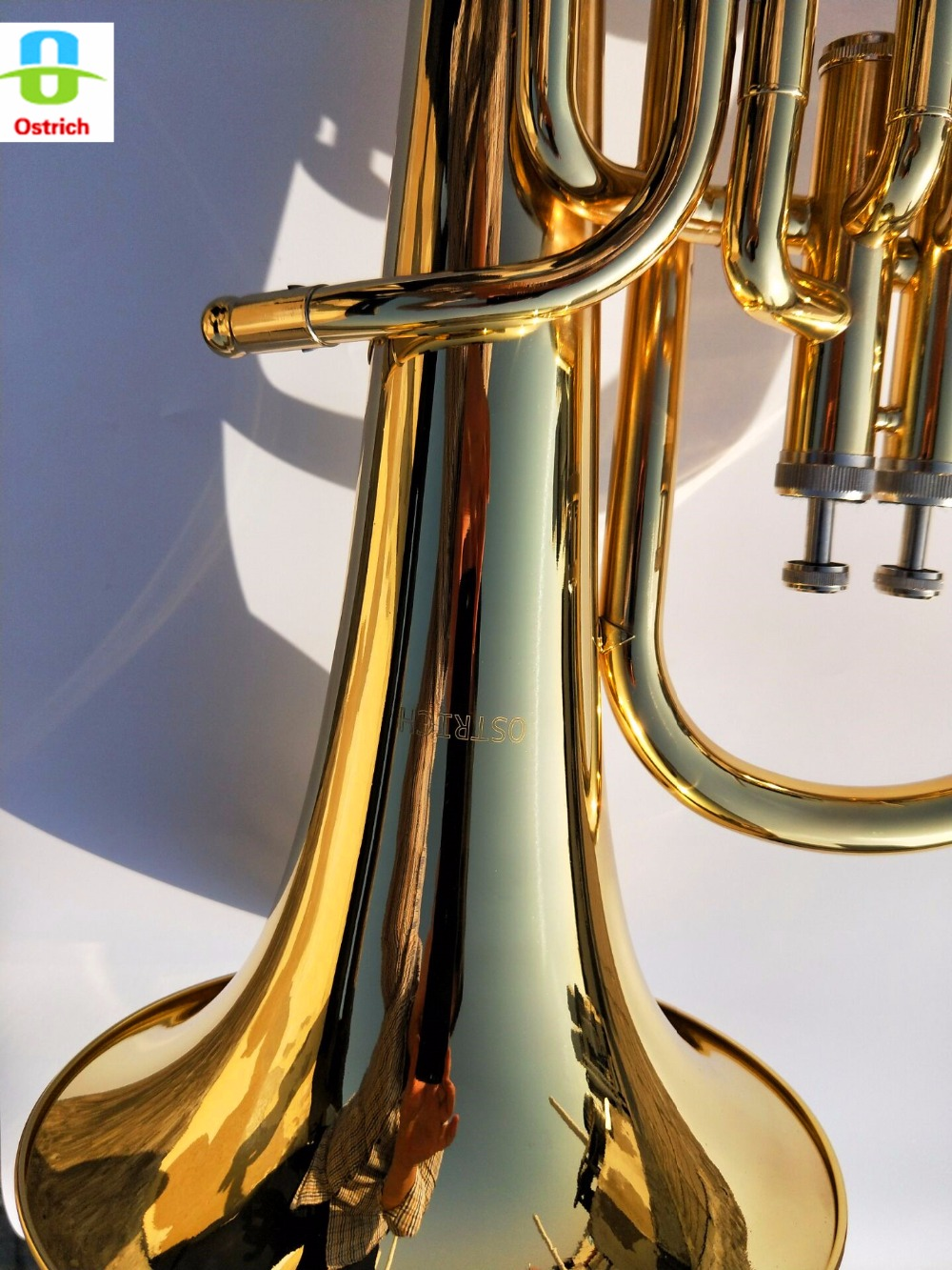 BB Баритон Рог посеребренные рупором Золото лакированный латунь Средства ухода за кожей Нержавеющая сталь Клапаны с случае