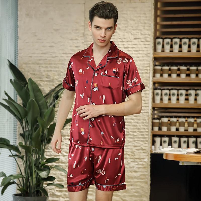 Onesie Men The New Group Spring 2018 Emulation Silk Pajamas Mens Short Sleeve Shorts Two-piece Leisurewear Wholesale Tz729