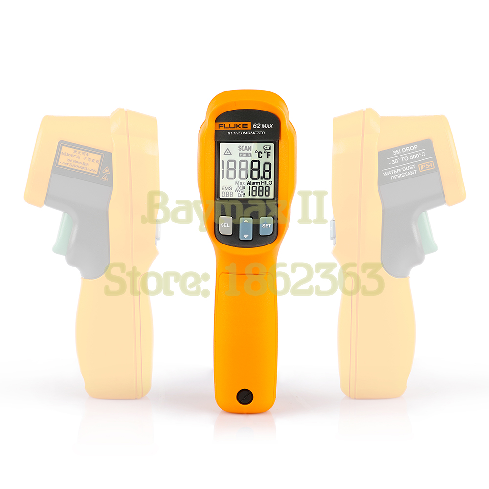 Fluke 62 MAX IP54 Water/Dust Resistant Infrared Thermometer -30-500C(-20~932F) with LCD Backlit and High/Low Temperature Alarm free shipping fluke 62 max dual laser infrared thermometer free shipping 62max