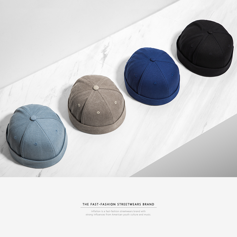 INFLATION 2019 New Chinese-Style Round Hat Unisex Snapback Couple Caps Flanging Solid color Fashion Men's hats 073CI2017(China)