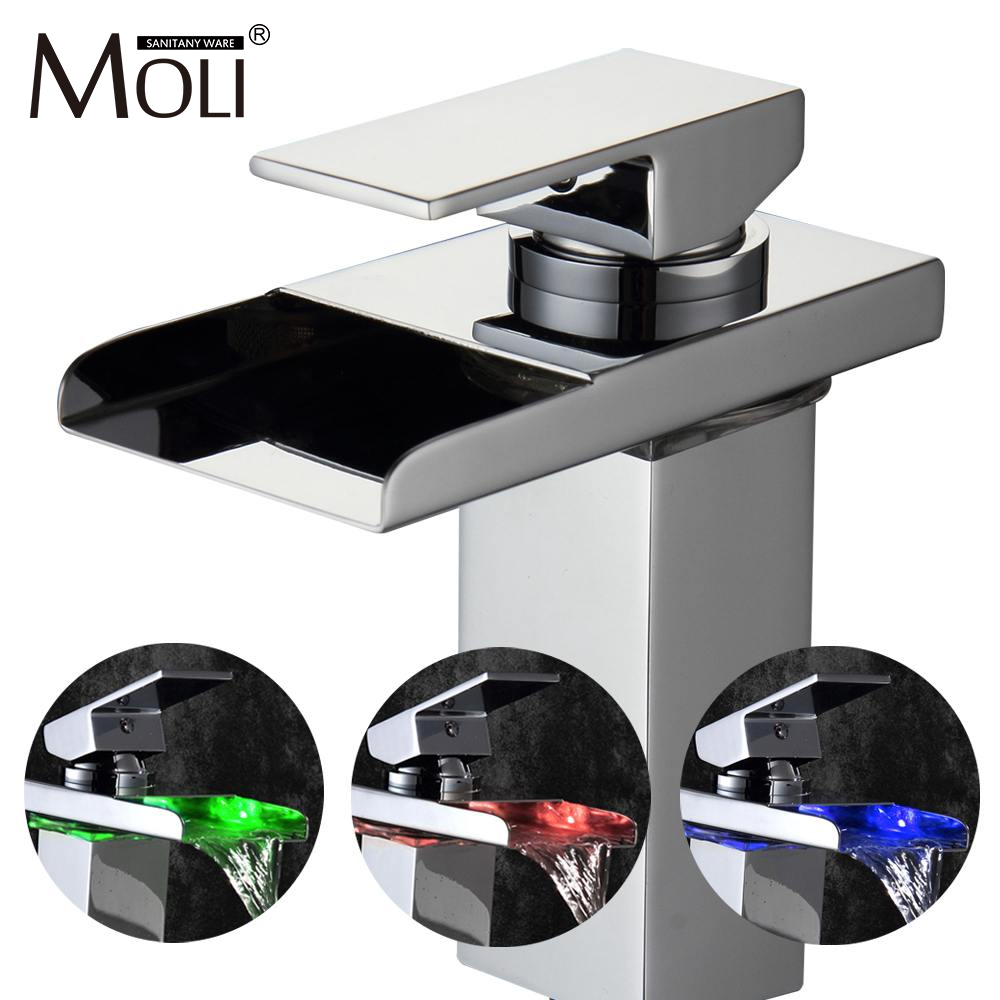 Free shipping soild brass chrome finish bathroom faucet led waterfall washbasin faucets square spout tall tap mixer цена