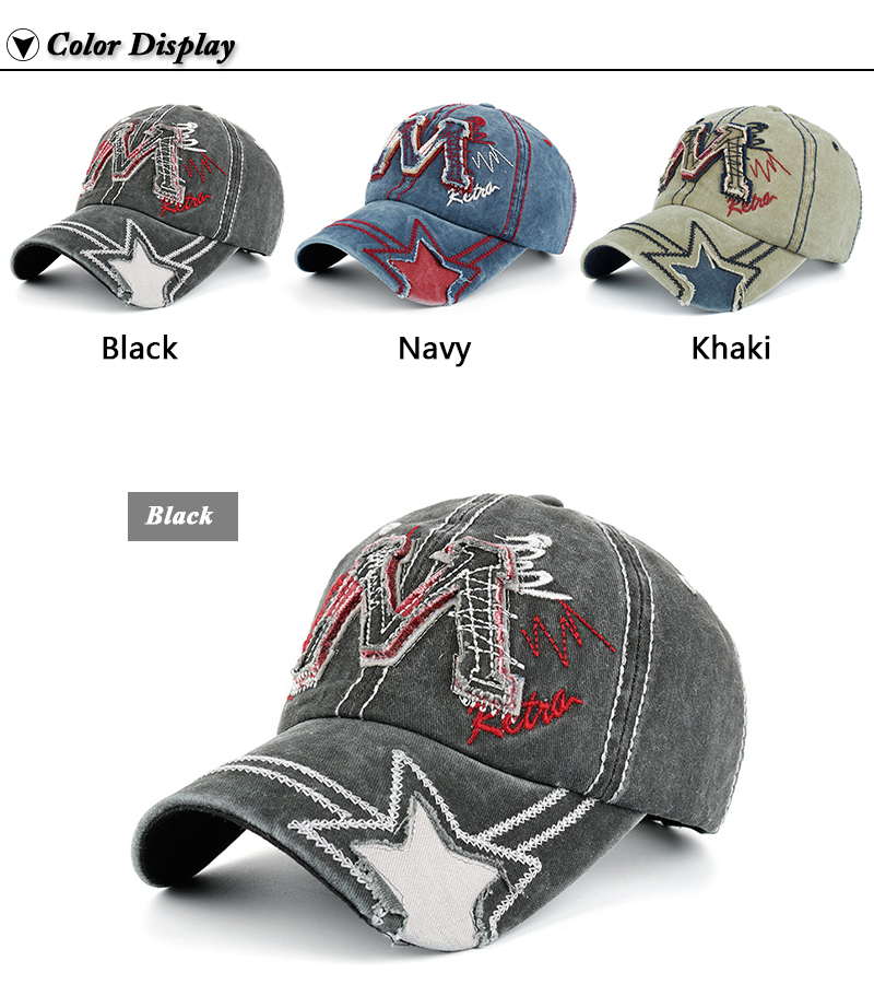 """Embroidered """"M"""" Baseball Cap - Available Colors"""