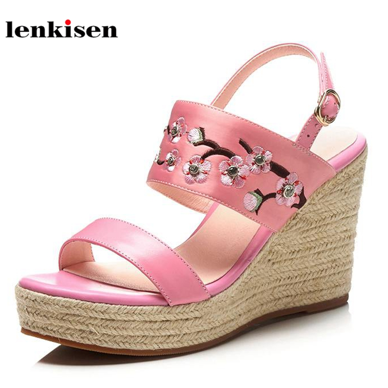 Lenkisen 2018 cow leather peep toe wedges summer shoes gladiator embroidery flowers straw pthick bottom sweet women sandals L48 2017 new summer fashion women casual shoes genuine leather lady leisure sandals gladiator all match ankle peep toe flowers
