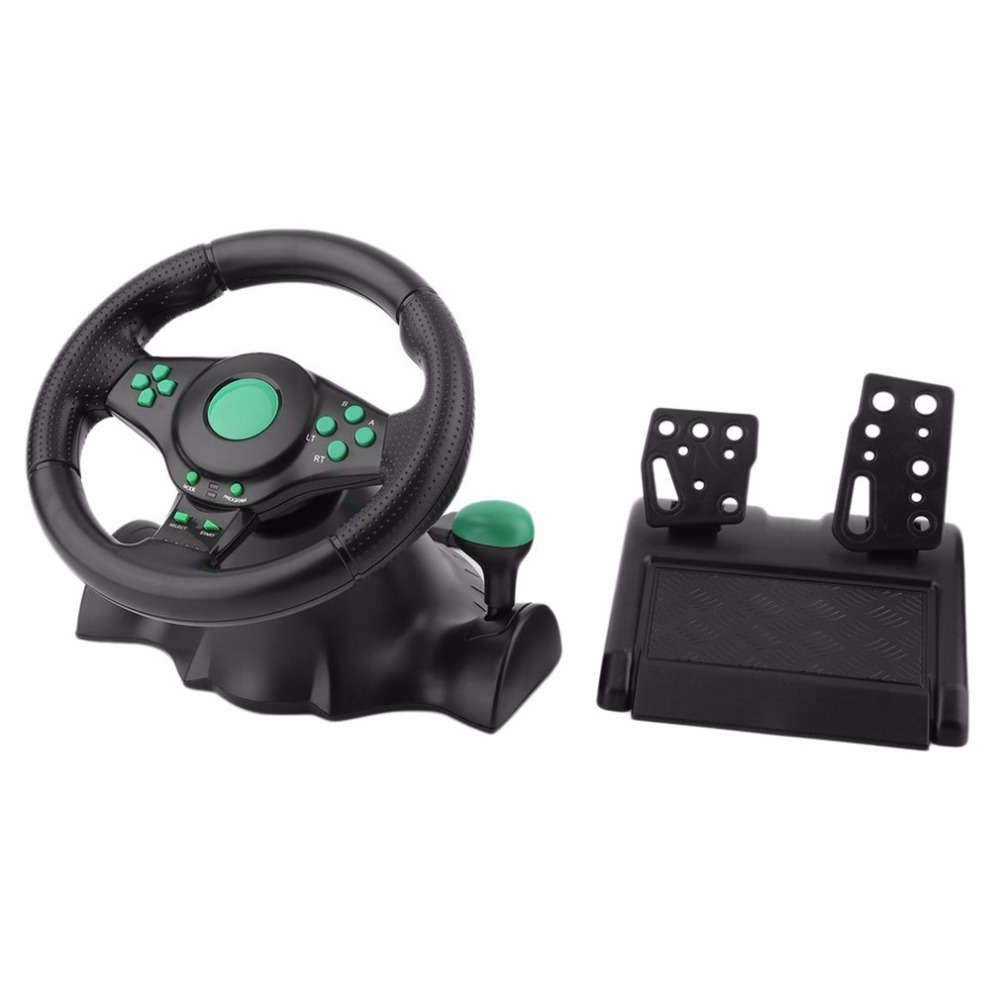 Вращение игры вибрации спортивный руль 180 градусов с педалями для xbox 360 для PS2 для PS3 PC USB рулевого колеса автомобиля