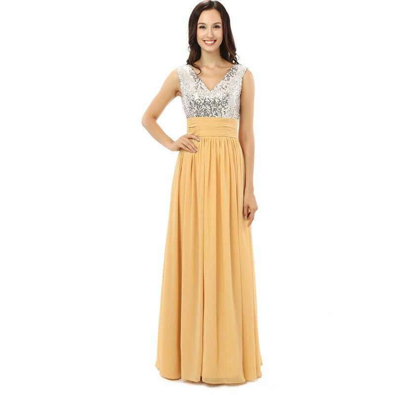 H&S BRIDAL Silver Sequins V Neck Yellow Chiffon Women Dresses Long Cheap Bridesmaid Dresses Cheap