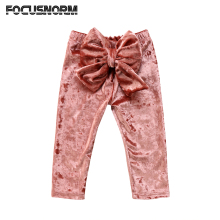 Toddler Kids Baby Girls Princess Velvet Bowknot Bottoms Straight Long Pants Leggings Clothes Outfit