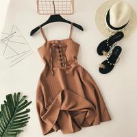 2019 new fashion women's straps dresses classic striped closed waist dress