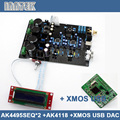AK4495SEQ *2 + AK4118 + XMOS USB soft control DAC decoder board with LCD display support DOP DSD , (Dual AC12V-0-12V)