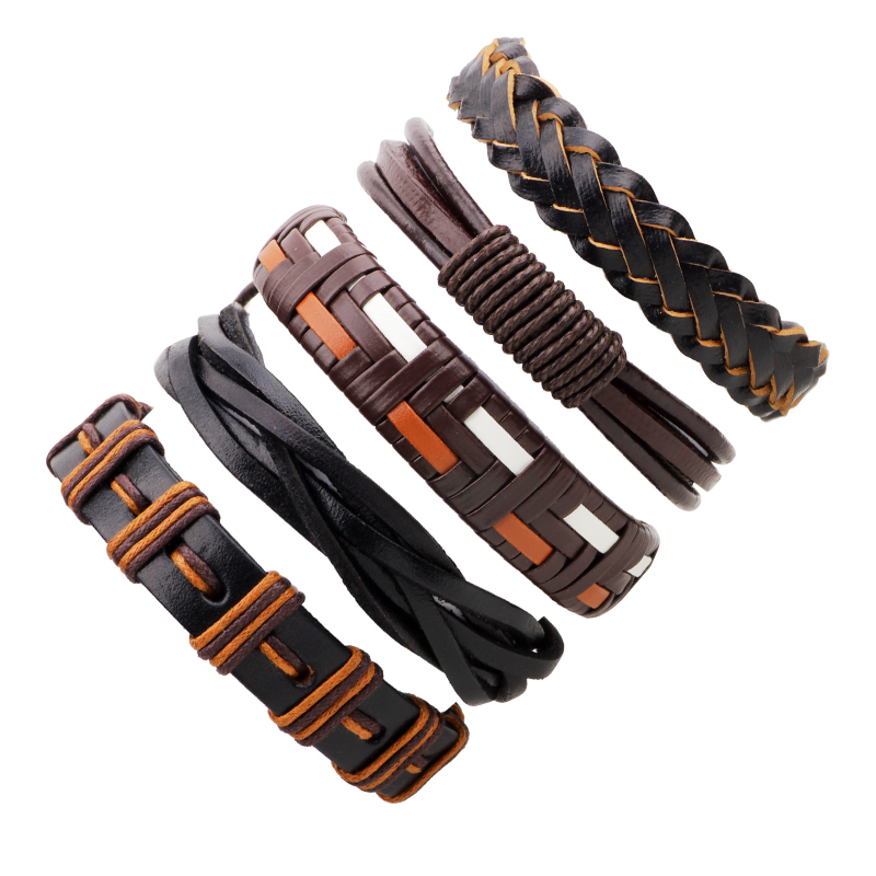 2018 FUNIQUE Men's Bracelets Punk Leather Weave Black
