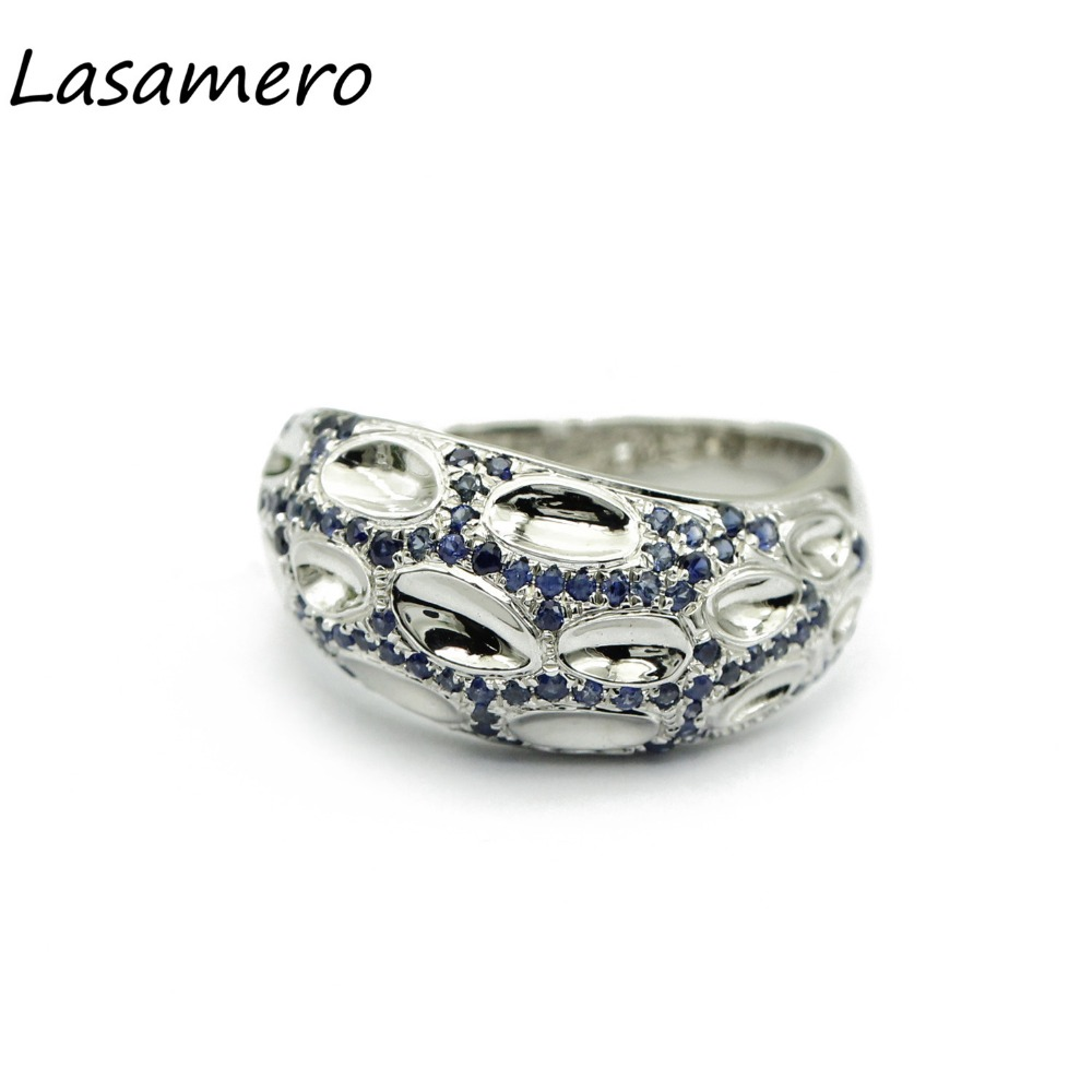 LASAMERO Rings for Women 0.41ctw Round Cut Natural Sapphire Accents Rings 925 Silver Engagement Wedding Rings 6pcs of stylish color glazed round rings for women