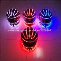 Hurtownie 4 SZTUK Kask Halloween Boże Narodzenie Scen Świecenia LED RGB Light Up Czapki Party Dancing Bar DJ Klub Nocny