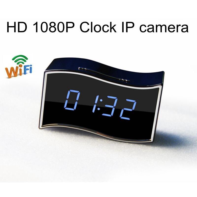 170 degree Wide Angle Mini Camera Desk Clock Night Vision Alarm Clock Full HD 1920x1080 Nanny Cam IP Clock Support Android/iOS