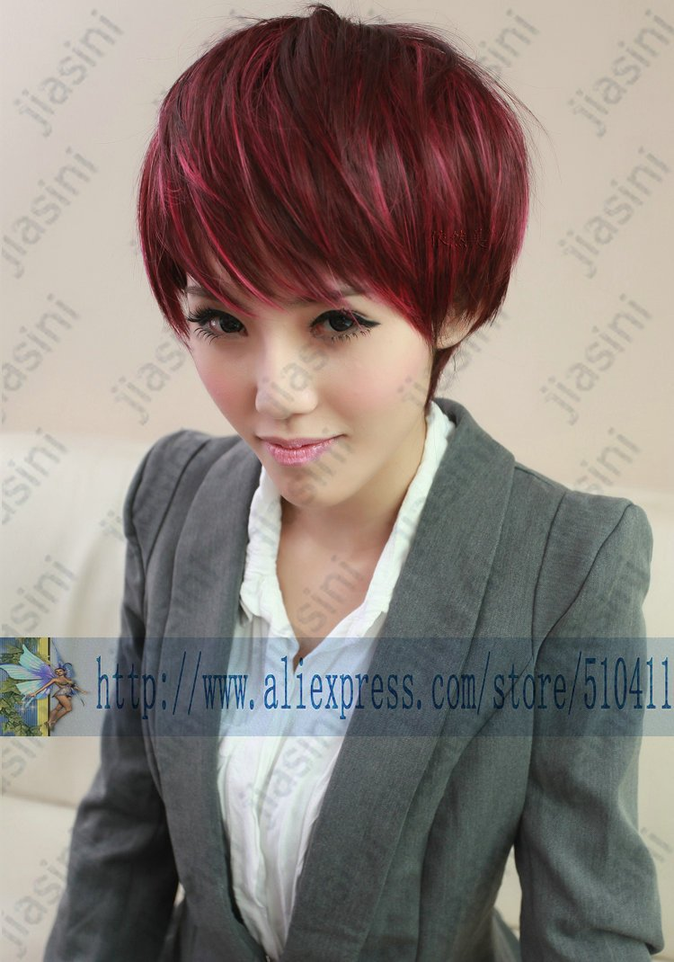 Stylish smart women charming girl pretty short layered highlights stylish smart women charming girl pretty short layered highlights wine red beauty party wig on aliexpress alibaba group pmusecretfo Gallery