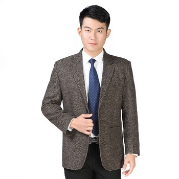 WAEOLSA Spring Autumn Blazer Masculino Gray Khaki Blend Jacket Suit Men Casual Patch Tailored Man Business Garment