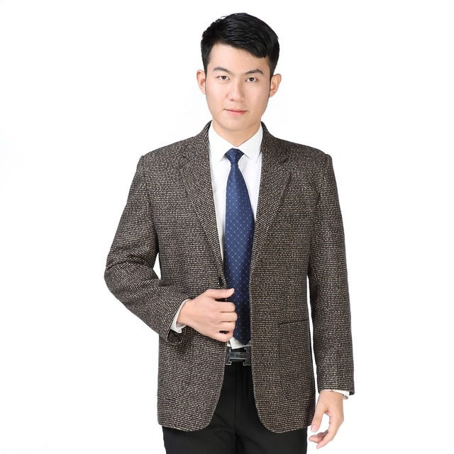 WAEOLSA Spring Autumn Blazer Masculino Gray Khaki Blend Jacket Suit Men Casual Blazer Patch Tailored Suit Man Business Garment