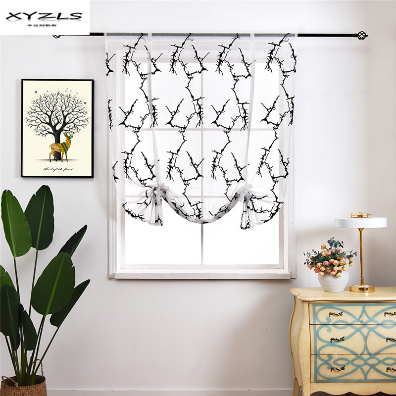 XYZLS Nordic Kitchen Curtains Black White Embroidered