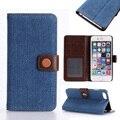 Denim padrão de casos de couro da aleta para apple iphone 6 5 se 7 5S 5se 6c 55 s 6g 5g 7g plus iphone6 plus iphone55s cobre saco de habitação
