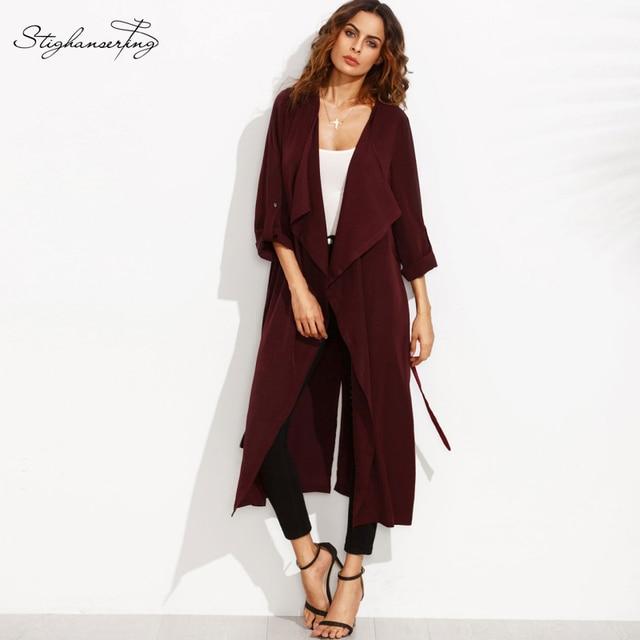 Новая Коллекция Весна Верхняя Одежда Женщин Элегантный Красный Уличная Повседневная Шинель Повседневная ПР Классические Основные Длинные Плащи