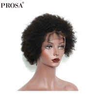 Short Human Hair Lace Front Bob Wig Mongolian Afro Kinky Culy Lace Front Human Hair Wigs Pre Pluked Remy Prosa