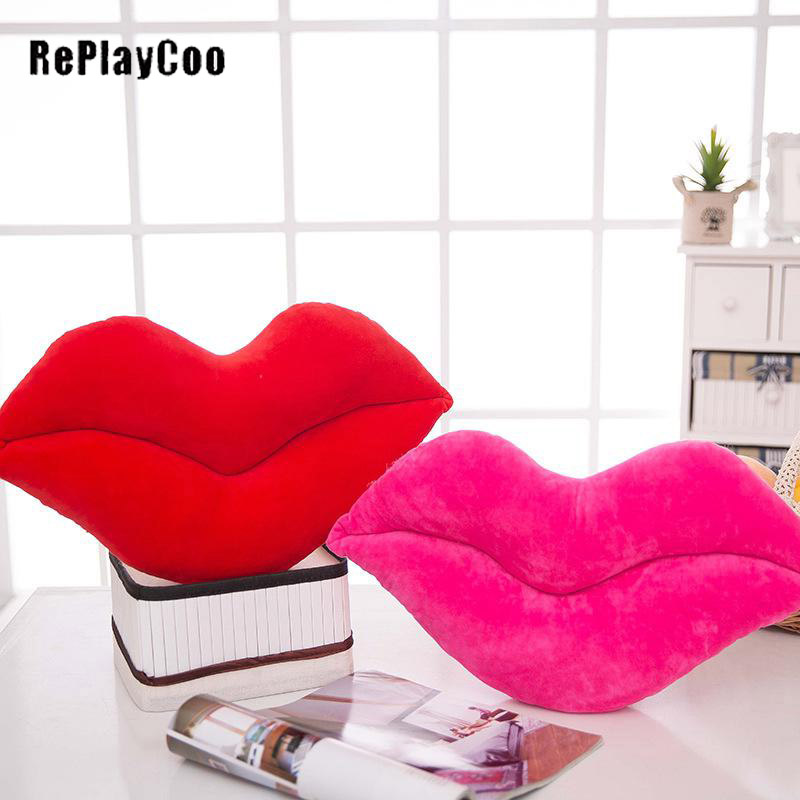 Red Lips Plush Pillow Creative Sexy Stuffed Plush Toys Cartoon Home Decor Pillows Girl Valentines Day Gifts For Lover J02001 Toys & Hobbies