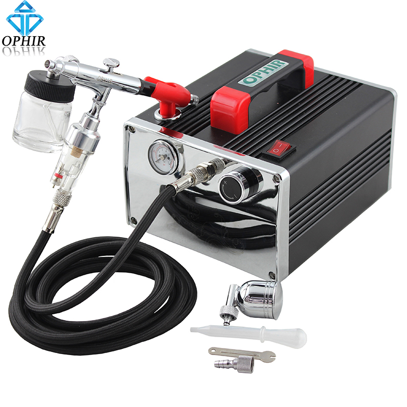 OPHIR 110V/220V Pro Air Compressor with Airbrush Kit Dual Action Air Brush Gun for Makeup Model Hobby Cake Decoration_AC091+005 ophir 3 tips dual action airbrush gravity paint air brush with 110v 220v air tank compressor for nail art body paint ac090 070