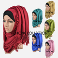 10 pcs mulheres hijab lenço acrílico sólidos plain sarja hijabs pashmina xales longos senhoras islâmico muçulmano maxi tassel cachecóis wraps
