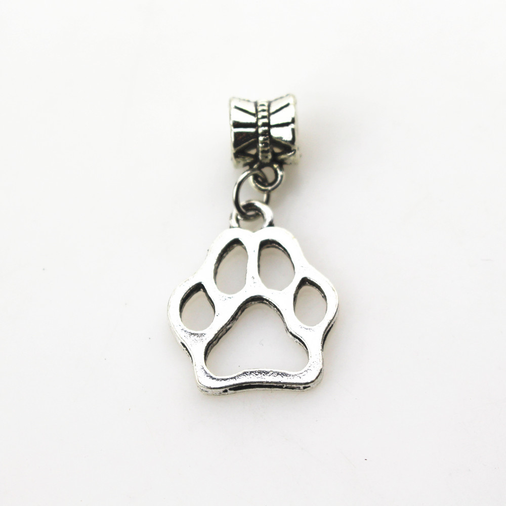 Hanging charms 20pcs/lot dog paw charms big hole pendant beads fit women bracelet & bangle diy jewelry dangle charms