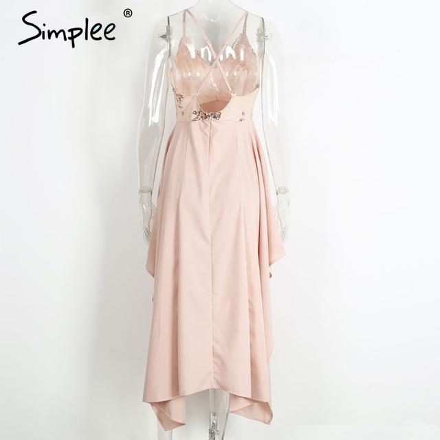 Simplee Sexy v neck sequin irregular long dress Women elegant backless party dress Sleeveless beach summer dress vestidos