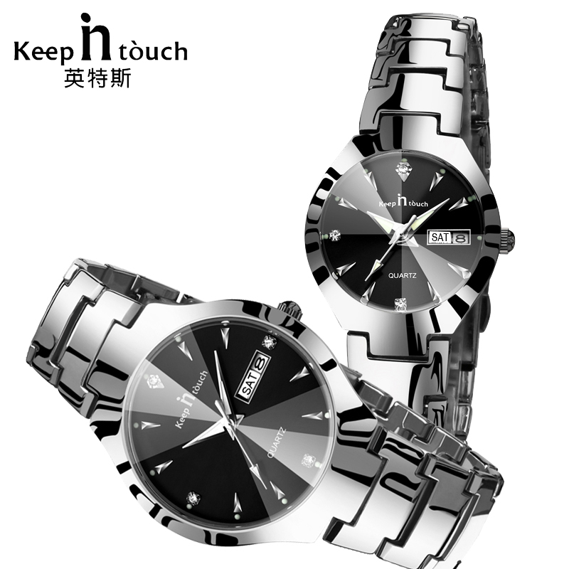 KEEP IN TOUCH Couple Watch for Lovers Man and Ladies Quartz Luminous Calendar Watches Luxury Bracelet Wedding Gift with Box kawaii cat printing backpack for teenager girls mochilas femininas women laptop backpack large capacity flower travel backpack