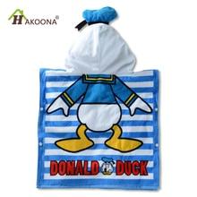 HAKOONA Baby Дети с капюшоном Полотенце Хлопчатобумажная ткань Абсорбирующий мягкий халат Пляжный бассейн Плавательный пончо с мультяшным печатным телом