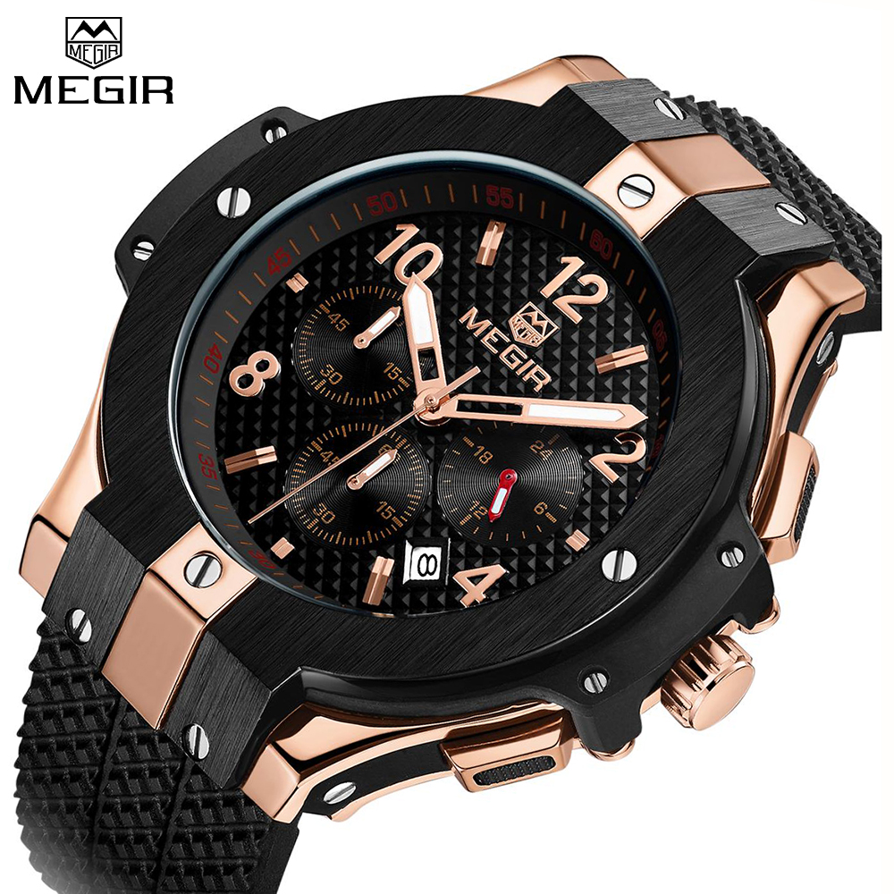 MEGIR Watches Men Luxury Brand Big Dial Quartz Wrist Watch Male Sports Army Military Watches Gold Chronograph Relogio Masculino