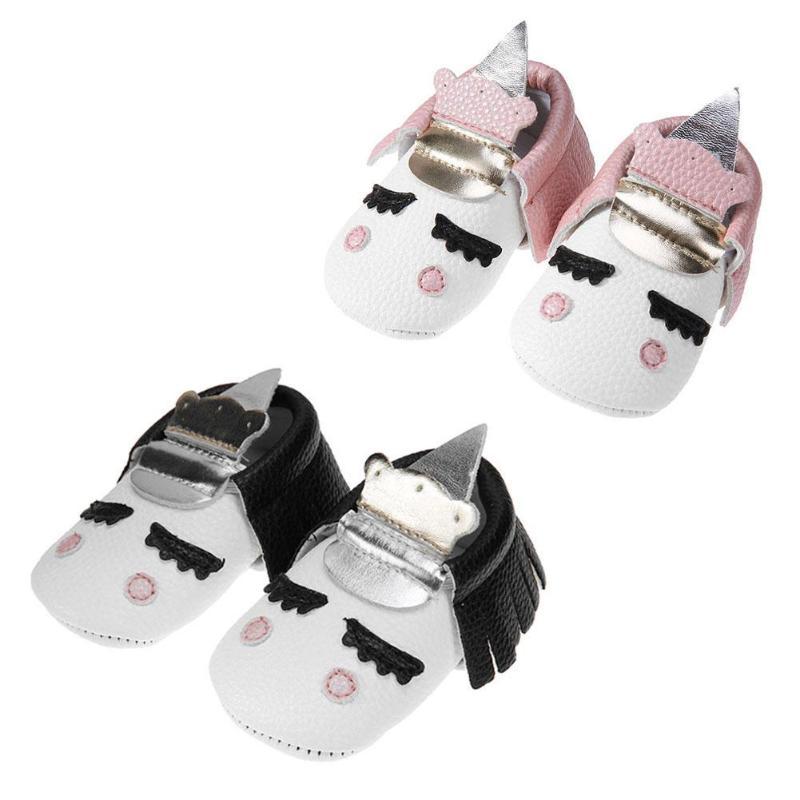 Baby Moccasins for Girl Boy PU Leather Toddler Prewalker Infants Floor Soft Elastic Cartoon Tassel Shoes Anti-slip First Walkers