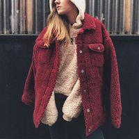 Винтаж искусственного меха пальто Мишка верхняя одежда Для женщин пушистый Shaggy теплая куртка Зимние Для женщин Кнопка леди пальто
