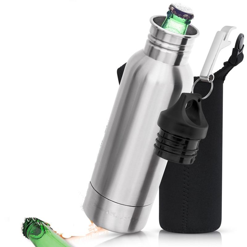 12oz Stainless steel 304 kettle with carabiner opener beer  bottle keeper Cooler Insul my water bottle with neoprene SBR CR bag