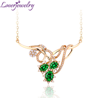 Loverjewelry Extravagant Queen Style Necklace Woman Fashion Emerald Necklace Angel With Natural Diamond 18K Yellow Gold WP052