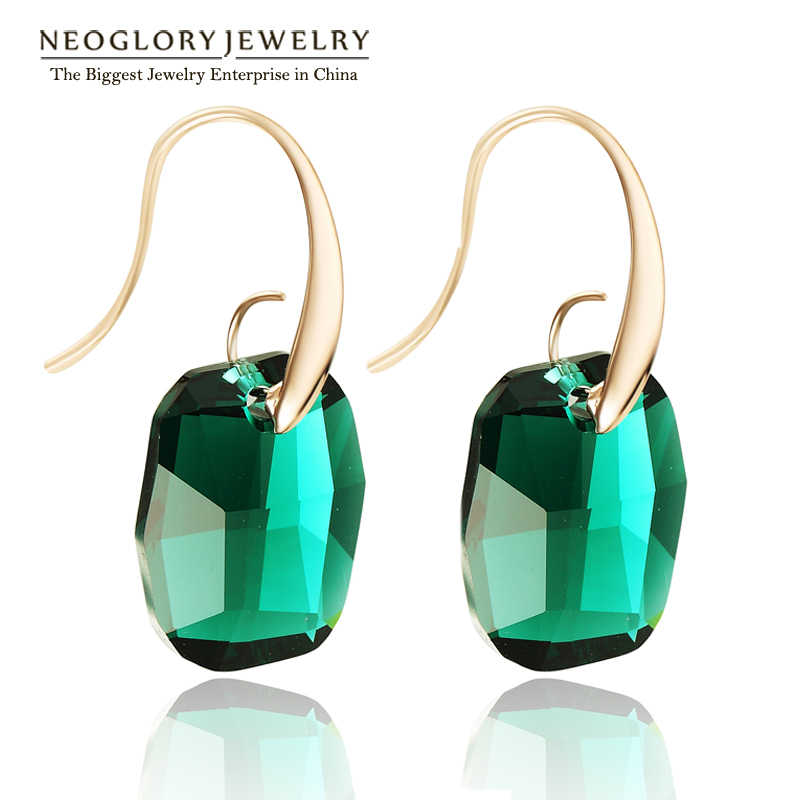 Neoglory Light Yellow Gold Color Austrian Crystal Big Chandelier Drop Earrings for Women 2018 New Indian Style Green Jewelry JS9
